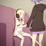 2girls ahoge black_hoodie blonde_hair closed_eyes commentary_request couch eyebrows_visible_through_hair facing_another food hair_ribbon headphones heart highres hood hood_down long_hair long_sleeves miniskirt multiple_girls pillow pocky purple_hair purple_skirt ribbon short_hair_with_long_locks short_sleeves sidelocks sitting skirt sleeve_tug sleeves_past_wrists tress_ribbon tsurumaki_maki very_long_hair vocaloid voiceroid yamadori_enka yuzuki_yukari