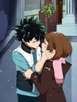 1boy 1girl artist_name blue_shirt blush_stickers boku_no_hero_academia brown_coat brown_eyes brown_hair closed_eyes coat couple dailykrumbs freckles green_hair hand_on_another's_face hetero highres imminent_kiss looking_at_another messy_hair midoriya_izuku mistletoe official_style scar scarf shirt short_hair signature snow upper_body uraraka_ochako vest white_vest winter_clothes winter_coat