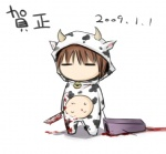 1girl animal_costume animal_print blood chibi cow_costume cow_print knife new_year shimo_(depthbomb) solo yume_nikki
