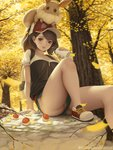 1girl animal animal_on_head arm_support autumn_leaves backpack bag baseball_cap brown_eyes brown_hair commentary_request eevee female_protagonist_(pokemon_lgpe) gen_1_pokemon ginkgo_leaf hat leaf leaves_in_wind letdie1414 looking_at_viewer on_head panties parted_lips poke_ball pokemon pokemon_(creature) pokemon_(game) pokemon_lgpe rock shoes short_shorts shorts sitting smile sneakers thermos tree underwear upshorts