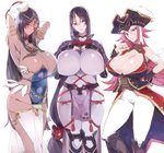 3girls ahoge arm_guards arm_wrap asymmetrical_docking bangs black_gloves black_hair bodysuit breast_press breasts bridal_gauntlets bura circlet cleavage curvy dark_skin facial_scar fate/extra fate/grand_order fate_(series) fingerless_gloves forehead_jewel francis_drake_(fate) gloves green_eyes hat head_chain highres huge_breasts loincloth long_hair looking_at_viewer low-tied_long_hair minamoto_no_raikou_(fate/grand_order) multiple_girls parted_bangs pink_hair pirate pirate_hat purple_bodysuit purple_eyes purple_hair ribbed_sleeves rope scar scheherazade_(fate/grand_order) tabard thumb_ring very_long_hair