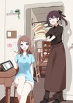 2girls :o aa_(sin2324) apron black_bow black_footwear black_shirt blue_shirt blush bow brown_apron brown_hair brown_pants chair closed_eyes collared_shirt commentary_request cupboard drawing_tablet easel food hair_bow hair_ornament hairclip hakama-chan_(aa) highres holding holding_plate holding_stylus indoors long_hair multiple_girls open_mouth original pancake pants plate ponytail purple_eyes shirt shoes short_shorts short_sleeves shorts stack_of_pancakes standing stylus waist_apron white_shorts wooden_floor