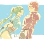 1boy 1girl aisutabetao armor arms_behind_back belt blue_background blush breastplate breasts commentary_request cowboy_shot dress earrings face-to-face fire_emblem fire_emblem:_rekka_no_ken gloves green_eyes green_hair groin jewelry kent_(fire_emblem) leaning_back leaning_forward long_hair looking_at_another lyndis_(fire_emblem) motion_lines pants pelvic_curtain ponytail profile red_eyes red_hair sash shirt short_hair short_sleeves side_slit simple_background sketch sweatdrop thighs