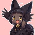 1girl ahoge animal_ear_fluff animal_ears bangs bell bell_collar black_dress black_hair blunt_bangs collar dark_skin dress fang final_fantasy final_fantasy_xiv frilled_dress frills gloves highres jingle_bell lalafell looking_at_viewer open_mouth outline outstretched_arms paw_gloves paws pink_background sakura_chiyo_(konachi000) signature solo whisker_markings white_outline yellow_eyes