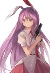 1girl animal_ears breasts bunny_ears commentary cowboy_shot eyebrows_visible_through_hair gun handgun highres holding holding_gun holding_weapon medium_breasts necktie pink_skirt pistol puffy_short_sleeves puffy_sleeves purple_hair red_eyes red_neckwear reisen_udongein_inaba shirt short_sleeves simple_background skirt solo standing thkani touhou trigger_discipline weapon white_background white_shirt