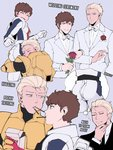 2boys amuro_ray ass belt black_belt black_bodysuit black_neckwear black_suit blonde_hair blue_bodysuit blue_eyes blush_stickers bodysuit brown_hair cape char_aznable chin_stroking couple curly_hair earth_federation english_text eye_contact flower food formal grin gundam hair_slicked_back head_on_butt highres hug husband_and_husband jacket jumpsuit kyou_(ningiou) lapel_flower light_smile locked_arms looking_at_another male_focus military mobile_suit_gundam multicolored multicolored_bodysuit multicolored_clothes multiple_boys pocky red_bodysuit red_flower red_rose rose skin_tight smile suit thought_bubble toned toned_male twisted_torso twitter_username wedding white_belt white_neckwear white_suit yaoi yellow_bodysuit