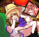 2girls bar_censor black_footwear blonde_hair blush bottomless brown_headwear censored commentary_request cross-section cum cum_in_pussy detached_sleeves ejaculation furanshisu futa_with_female futanari green_hair hat highres internal_cumshot kochiya_sanae long_hair lying moaning moriya_suwako motion_lines multiple_girls on_back open_mouth penis purple_vest pussy pyonta sex shirt shoes short_hair squatting thighhighs touhou uterus vaginal vest white_legwear white_shirt white_sleeves yellow_eyes