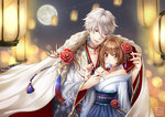 1boy 1girl apple backlighting bambi_nano bare_shoulders blue_kimono blurry bokeh brown_hair cape character_request collarbone couple depth_of_field earrings eyebrows_visible_through_hair feeding flower food frost_(yume-100) fruit full_moon fur_trim hair_between_eyes hair_flower hair_ornament height_difference hetero highres japanese_clothes jewelry kimono lantern long_sleeves moon necklace night night_sky obi off_shoulder paper_lantern parted_lips penis print_kimono red_eyes sash short_hair silver_hair sky smile snowflake_print star_(sky) starry_sky tareme white_kimono wide_sleeves yume_oukoku_to_nemureru_100-nin_no_ouji-sama