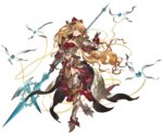1girl armor armored_boots bangs blonde_hair boots bow breasts granblue_fantasy hair_bow hair_ornament halberd holding holding_weapon long_hair looking_at_viewer medium_breasts minaba_hideo navel official_art one_leg_raised overskirt polearm red_eyes shoulder_armor solo transparent_background turtleneck vira weapon