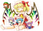 1girl :3 :d ^_^ apron bad_id bad_pixiv_id blonde_hair blue_hair book braid character_doll chibi closed_eyes crescent demon_wings doll dress flandre_scarlet hair_ribbon happy hat hong_meiling izayoi_sakuya maid maid_headdress michii_yuuki o_o open_mouth patchouli_knowledge purple_hair reading red_hair remilia_scarlet ribbon sitting smile socks solo star touhou twin_braids wings