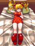 1girl ankle_boots bed blonde_hair blue_eyes blush boots bow breasts dress effie fingerless_gloves full-face_blush gloves hair_bow long_hair looking_at_viewer on_bed oppai_loli osamu_yagi pillow red_dress red_gloves ribbon solo spikes street_fighter street_fighter_iii sweatdrop twintails