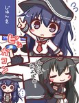 ... 2girls akatsuki_(kantai_collection) arm_up bangs black_gloves black_hair black_headwear black_sailor_collar black_skirt blush_stickers can canned_coffee closed_eyes closed_mouth comic elbow_gloves eyebrows_visible_through_hair flat_cap flying_sweatdrops gloves hair_between_eyes hat holding holding_can kantai_collection komakoma_(magicaltale) long_hair multiple_girls nagato_(kantai_collection) outstretched_arm parted_lips partly_fingerless_gloves pleated_skirt purple_eyes purple_hair red_neckwear sailor_collar school_uniform serafuku shirt skirt smile spoken_ellipsis translated trembling very_long_hair white_shirt white_skirt