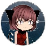1girl :3 adapted_costume alternate_breast_size animal_ears aoshima bare_shoulders black_border blue_background border breasts brown_eyes brown_hair cat_ears cat_tail chen closed_mouth commentary_request constricted_pupils eyebrows_visible_through_hair eyelashes facing_viewer high_collar large_breasts multiple_tails red_shirt shirt short_hair simple_background sleeveless sleeveless_shirt slit_pupils solo standing tail textless touhou two_tails upper_body