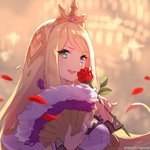 1girl aqua_eyes artist_request blonde_hair blurry blurry_background chelle_(dragalia_lost) commentary_request company_name dragalia_lost eyebrows_visible_through_hair fan flower folding_fan hair_ornament holding holding_fan holding_flower leaf long_hair looking_at_viewer official_art open_mouth partial_commentary petals plant rose rose_petals smile solo thorns tiara upper_body very_long_hair watermark