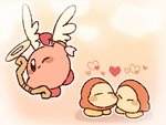 arrow blush bow_(weapon) closed_eyes commentary couple flying halo heart heart_arrow highres kirby kirby_(series) mikan_38knight no_mouth one_eye_closed outline shadow waddle_dee weapon white_outline wings