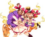 1girl :d antinomy_of_common_flowers bag bow bracelet dress drill_hair earrings fingernails hair_ribbon handbag harukawa_moe hat hat_bow jewelry multiple_hair_bows necklace official_art open_mouth orange_eyes orange_hair pendant red_ribbon ribbon ring short_hair sideways_mouth smile solo sunglasses top_hat touhou transparent_background twin_drills twintails v-shaped_eyebrows white_dress yorigami_jo'on
