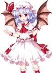 1girl :d ascot bat_wings blue_hair blush bow commentary_request dress eyebrows_visible_through_hair feet_out_of_frame frilled_shirt_collar frills hair_between_eyes hands_up hat hat_ribbon highres looking_at_viewer mob_cap open_mouth puffy_short_sleeves puffy_sleeves red_bow red_eyes red_neckwear red_ribbon red_sash remilia_scarlet ribbon ruu_(tksymkw) sash short_hair short_sleeves simple_background smile sock_bow socks solo standing touhou white_background white_dress white_hat white_legwear wings wrist_cuffs
