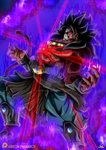 1boy abs aura bare_chest black_hair blank_eyes bracelet broly commentary damaged dark_persona dragon_ball dragon_ball_heroes earrings english_commentary fur glowing glowing_eyes highres jewelry legendary_super_saiyan long_hair male_focus maniaxoi mask monkey_tail muscle necklace red_eyes saiyan shirtless spiked_hair super_saiyan_4 tail wristband