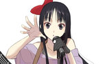 1girl akiyama_mio bangs black_hair blunt_bangs gloves grey_eyes hair_ribbon k-on! listen!! long_hair microphone ribbon sakamoto_mineji single_glove solo straight_hair