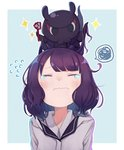 1girl blush casual closed_eyes commentary_request contemporary eyebrows_visible_through_hair fate/grand_order fate_(series) flying_sweatdrops hair_ornament hairclip hood hoodie katsushika_hokusai_(fate/grand_order) medium_hair octopus outside_border purple_hair simple_background solo spoken_squiggle squiggle tearing_up totatokeke upper_body wavy_mouth