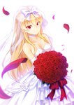 1girl absurdres arifureta_shokugyou_de_sekai_saikyou bangs bare_shoulders blonde_hair bouquet bow bridal_veil choker collarbone commentary_request dress eyebrows_visible_through_hair flower hakuya_kung highres holding holding_bouquet huge_filesize layered_dress long_hair md5_mismatch petals red_eyes red_flower red_rose rose rose_petals simple_background solo strapless strapless_dress veil very_long_hair wedding_dress white_background white_bow white_choker white_dress yue_(arifureta)