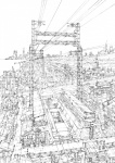 building city cityscape highres k_kanehira lineart monochrome original road scenery science_fiction street train_station vanishing_point