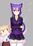 2girls :3 alternate_costume animal_ears bad_id blonde_hair braid breasts cat_ears cropped_jacket ei_(heilel666) eltnum highres kemonomimi_mode long_hair melty_blood minigirl multiple_girls nekoarc purple_eyes purple_hair single_braid sion_eltnam_atlasia skirt sweater thighhighs tsukihime under_night_in-birth v-neck white_legwear zettai_ryouiki