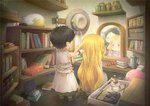 2girls animated beads black_hair blonde_hair blush book bookshelf box bracelet cologne cup cutting_hair dararito dress earrings hair_beads hair_brush hair_ornament hairdressing hakumei_to_mikochi hat hat_removed headwear_removed hoop_earrings huge_filesize indoors jada_(hakumei_to_mikochi) jar jewelry konju_(hakumei_to_mikochi) long_hair looking_at_another mirror multiple_girls necklace open_mouth pointy_ears red_eyes reflection scissors short_hair sitting sleeveless sleeveless_dress talking teacup teapot ugoira very_long_hair white_dress