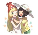 2girls beanie black_hair blonde_hair blush braid closed_eyes dress green_eyes hat headwear_switch lillie_(pokemon) long_hair mizuki_(pokemon_sm) multiple_girls one_eye_closed open_mouth pokemon pokemon_(game) pokemon_sm red_hat shirt short_hair short_sleeves sleeveless sleeveless_dress sun_hat tied_shirt twin_braids unapoppo white_dress white_hat z-ring