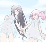 2girls :o akemi_homura bare_arms bare_legs black_hair blue_sky breasts cloud cloudy_sky cowboy_shot day dress dutch_angle expressionless eyebrows_visible_through_hair floating_hair flower frilled_dress frilled_sleeves frills hair_flower hair_ornament holding_hands kaname_madoka long_hair looking_at_another mahou_shoujo_madoka_magica multiple_girls open_mouth outdoors parted_lips pink_eyes pink_flower pink_hair pokki_(sue_eus) purple_eyes see-through see-through_silhouette short_hair short_sleeves short_twintails sky sleeveless sleeveless_dress small_breasts teeth thigh_gap thighs twintails upper_teeth white_dress wide_sleeves