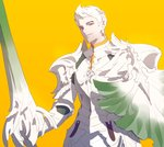 1boy armor brown_eyes closed_mouth facial_hair fajyobore323 gen_8_pokemon gloves highres holding_shield lance looking_at_viewer male_focus orange_background personification pokemon polearm shield simple_background sirfetch'd stubble sword upper_body weapon white_armor white_hair yellow_background