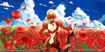 1girl ahoge aiovia blonde_hair blurry depth_of_field dress epaulettes fate/extra fate/stay_night fate_(series) field flower flower_field from_behind hair_ribbon red_dress ribbon saber_extra sky solo