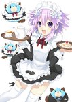 1girl :d alternate_costume apron black_dress blush cake cup d-pad d-pad_hair_ornament dogoo dress enmaided food frilled_dress frills hair_between_eyes hair_ornament highres holding holding_tray looking_at_viewer maid maid_apron maid_headdress neptune_(neptune_series) neptune_(series) open_mouth purple_eyes purple_hair short_hair_with_long_locks simple_background smile solo tea teacup teapot thighhighs tray waiter white_apron white_background white_legwear zero_(ray_0805)