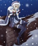 1girl bare_shoulders black_legwear blonde_hair boots cape chimney choker fate/grand_order fate_(series) fur-trimmed_boots fur-trimmed_cape fur_trim gloves hat high_heel_boots high_heels highres looking_at_viewer nekoperon pantyhose rooftop saber saber_alter santa_alter santa_hat snow snowing solo thigh_boots thighhighs yellow_eyes