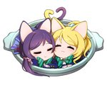 2girls :3 animal_ears ayase_eli bangs blazer blonde_hair blush bow bowtie cat_ears cat_tail chibi closed_eyes hair_ornament hair_scrunchie head_to_head heart_tail_duo in_container kemonomimi_mode long_hair long_sleeves love_live!_school_idol_project multiple_girls neko_nabe ng_(kimjae737) plaid plaid_skirt ponytail purple_hair school_uniform scrunchie simple_background skirt sleeping smile striped striped_bow striped_bowtie swept_bangs tail toujou_nozomi twintails white_background yuri