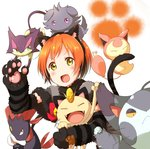 1girl :d animal_ears arm_up black_gloves black_hairband blush capelet cat_day cat_ears cat_tail crossover espurr fake_animal_ears fang gen_1_pokemon gen_3_pokemon gen_4_pokemon gen_5_pokemon gen_6_pokemon gloves hairband highres hoshizora_rin ksk_(semicha_keisuke) looking_at_viewer love_live! love_live!_school_idol_project meowth open_mouth orange_hair paw_gloves paws pokemon pokemon_(creature) purrloin purugly short_hair simple_background skitty smile tail trait_connection weavile white_background yellow_eyes