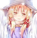 1girl arms_up bangs baram blonde_hair blush eyebrows_visible_through_hair hat looking_at_viewer moriya_suwako parted_lips sidelocks simple_background sleeves_past_wrists solo touhou upper_body white_background yellow_eyes