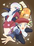 1boy 1girl :3 :d backpack bag beret black_pants blue_eyes blue_hair blue_jacket boots buttons cafe_(chuu_no_ouchi) coat gen_1_pokemon hair_ornament hat hikari_(pokemon) jacket kneehighs kouki_(pokemon) long_hair long_sleeves no_pupils o_o one_eye_closed open_clothes open_jacket open_mouth outstretched_arm pants pink_footwear poke_ball_theme pokemon pokemon_(creature) pokemon_(game) pokemon_dppt pokemon_platinum raichu red_coat red_hat red_shirt scarf shirt smile straight_hair tongue white_hat white_legwear white_scarf winter_clothes