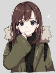 1girl arisaka_ako bangs black_sweater blue_eyes blush brown_hair closed_mouth coat commentary earrings eighth_note eyebrows_visible_through_hair fur_coat grey_background hand_up jewelry looking_at_viewer musical_note open_clothes open_coat original simple_background sleeves_past_wrists smile solo sweater turtleneck turtleneck_sweater upper_body