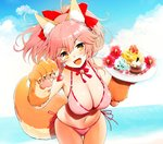 1girl animal_ears bangs bikini blush bow breasts cake cat_paws cleavage fangs fate/grand_order fate_(series) food fox_ears fox_girl fox_tail fruit gloves hair_bow kujiran large_breasts leaning_forward long_hair looking_at_viewer open_mouth paw_gloves paws pink_bikini ponytail side-tie_bikini smile solo strawberry swimsuit tail tamamo_(fate)_(all) tamamo_cat_(fate) tray