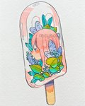 1girl artist_name bangs blue_eyes blue_flower flower food highres leaf long_hair meyoco original photo pink_hair plant popsicle profile simple_background solo traditional_media transparent watermark white_background