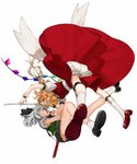 2girls :d ascot ass bangs belt black_belt black_neckwear black_ribbon black_skirt blonde_hair blood blood_from_mouth bloomers blue_eyes breasts clenched_teeth commentary_request eye_contact face-to-face fang flandre_scarlet full_body glowing glowing_eyes gotoh510 green_skirt green_vest hair_between_eyes hair_ribbon highres holding holding_sword holding_weapon katana konpaku_youmu leg_strap leg_up looking_at_another miniskirt multiple_girls neck_ribbon no_hat no_headwear open_mouth profile puffy_short_sleeves puffy_sleeves red_eyes red_footwear red_skirt red_vest reflection ribbon shirt shoes short_hair short_sleeves silver_hair simple_background skirt skirt_set small_breasts smile socks sword teeth thighs touhou underwear v-shaped_eyebrows vest weapon white_background white_bloomers white_legwear white_shirt wrist_cuffs yellow_neckwear