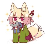 2girls afterimage animal_ear_fluff animal_ears bangs blonde_hair blue_shirt blush brown_footwear commentary commentary_request eyebrows_visible_through_hair fox_ears fox_girl fox_tail green_shirt grey_hair hair_between_eyes hair_bun hair_ornament highres kemomimi-chan_(naga_u) long_hair long_sleeves looking_at_viewer minigirl mouse_ears mouse_girl mouse_tail mouth_hold multiple_girls naga_u orange_neckwear original pleated_skirt purple_skirt red_eyes ribbon-trimmed_legwear ribbon_trim shadow shirt sidelocks skirt sleeves_past_fingers sleeves_past_wrists tail tail_wagging thighhighs v-shaped_eyebrows white_background white_legwear