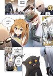 2boys 404_(girls_frontline) 4girls absurdres bald brown_hair cat commentary_request doll firing g11_(girls_frontline) girls_frontline guard gun hat highres hk416_(girls_frontline) korean_text lolita_fashion mini_hat multiple_boys multiple_girls pillow scar scar_across_eye shey_kr smile top_hat ump45_(girls_frontline) ump9_(girls_frontline) weapon younger