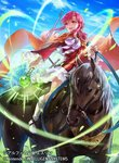 animal bangs blue_sky boots bow bowtie cape cloud company_name copyright_name day detached_sleeves ethlin_(fire_emblem) eyebrows_visible_through_hair fire_emblem fire_emblem:_seisen_no_keifu fire_emblem_cipher fire_emblem_heroes glowing holding horse horseback_riding knee_boots long_hair long_sleeves looking_away official_art open_mouth outdoors pink_eyes pink_hair riding shiny shiny_hair skirt sky smile staff sword uroko_(mnr) weapon white_footwear white_skirt