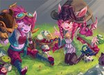 3girls 6+boys :d ;d alternate_hair_color amumu bell black_legwear blue_legwear bomb brown_eyes corki dragon dragon_tamer_lulu dragon_tamer_tristana drill_hair egg goggles goggles_on_head grass hat hatching heimerdinger highres index_finger_raised jingle_bell kennen kneeling kurokitsune_(float0108) league_of_legends lulu_(league_of_legends) multiple_boys multiple_girls mushroom navel nest one_eye_closed open_mouth outdoors pink_hair poppy purple_skin rumble_(league_of_legends) shuriken sitting smile sunglasses teemo toes tristana veigar witch_hat yellow_eyes yordle ziggs