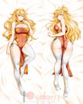 1girl ahoge alfred_cullado artist_name ass bangs bare_arms bare_shoulders bed_sheet black_panties blonde_hair blush breasts china_dress chinese_clothes cleavage cleavage_cutout closed_mouth covered_navel dakimakura double_bun dress eyebrows_visible_through_hair full_body highres knee_up large_breasts long_hair looking_at_viewer lying no_shoes on_back on_stomach panties patreon_username pelvic_curtain purple_eyes red_dress red_eyes rwby side-tie_panties sleeveless sleeveless_dress smile solo thighhighs underwear v-shaped_eyebrows very_long_hair watermark wavy_hair web_address white_legwear yang_xiao_long