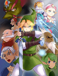 bad_id bad_tumblr_id bald bare_shoulders beard blonde_hair blue_eyes breasts brown_dress covered_mouth dark_skin darunia dress facial_hair facial_mark fighting_stance fingerless_gloves fish_girl forehead_jewel frown ganondorf gloves green_eyes green_hair green_skin hairband hat headdress highres impa instrument interlocked_fingers jewelry link lipstick makeup mascara master_sword melisa_amaro monster_girl mustache nabooru navi ocarina pointy_ears ponytail princess_ruto princess_zelda rauru red_eyes red_hair red_lipstick saria sheik silver_hair smile the_legend_of_zelda the_legend_of_zelda:_ocarina_of_time triforce young_zelda