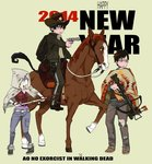 1girl 2014 2boys animal ao_no_exorcist belt bow_(weapon) brothers cowboy_hat crossbow denim gun handgun hat hood horse horseback_riding jeans katana kazue_kato moriyama_shiemi multiple_boys new_year okumura_rin okumura_yukio pants parody poncho revolver riding saddle siblings sitting_on_animal sword the_walking_dead torn_clothes torn_jeans torn_pants weapon