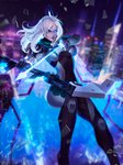 1girl arrow artist_name ashe_(league_of_legends) blue_eyes blurry blurry_background bodysuit boobplate bow_(weapon) breastplate breasts broken_glass building cape city city_lights cityscape commentary depth_of_field drawing_bow english_commentary floating_hair glass heterochromia hexagon highres large_breasts league_of_legends night night_sky outdoors parted_lips patreon_username project:_ashe rain sky skyscraper smile solo weapon white_hair zarory